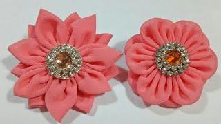 116) DIY - Tutorial || Cara Membuat Bros Bunga Dari Kain Perca Sifon || Chiffon Fabric Flower