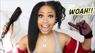 STRAIGHTEN IN 5 MINS?!? | Trying Straightening Brush on Natural Hair