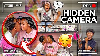 WE PUT A HIDDEN CAMERA IN THE ROOM WITH ASIA & AARON!! (CAUGHT KISSING)