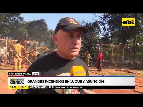Grandes incendios en Luque y Asunción