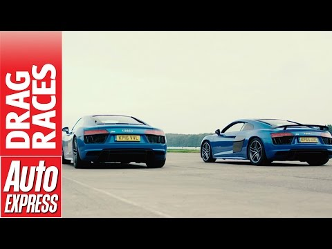 Audi R8 V10 vs V10 Plus drag race: how much difference does 69bhp make?