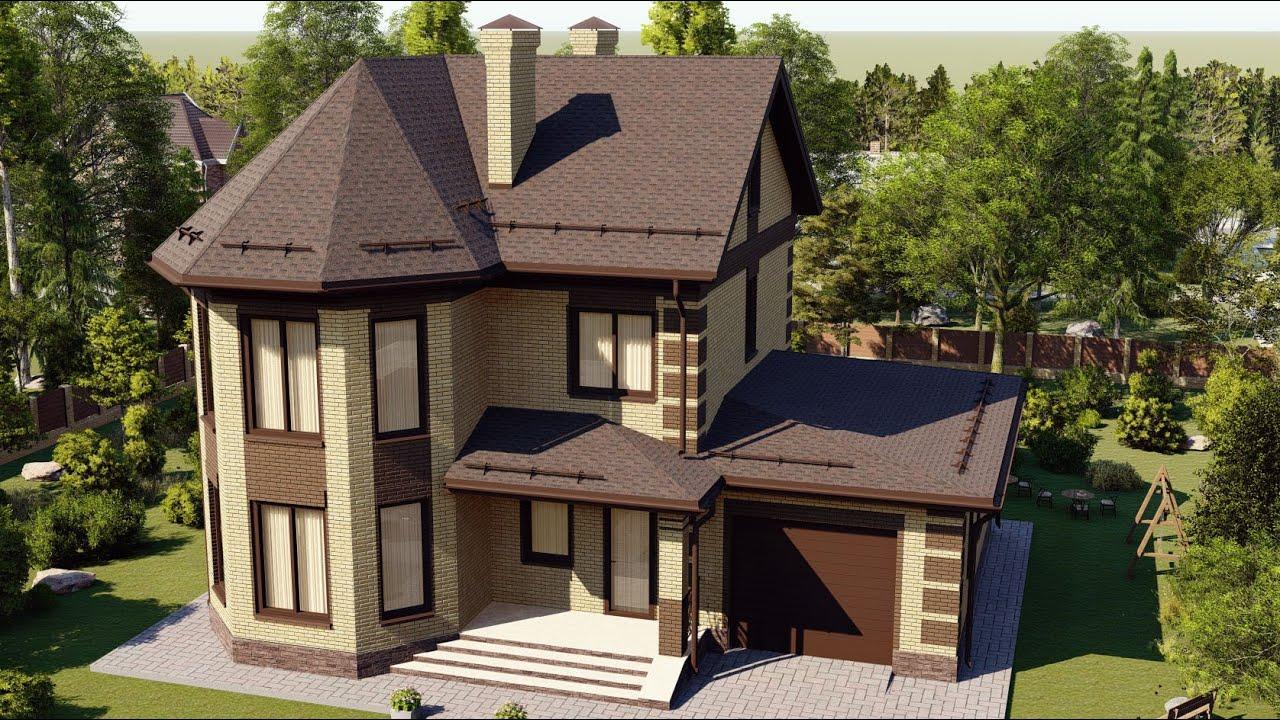 Проект красивого дома из газобетона с эркером и гаражом 147 м2
