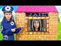 Sasha plays as Cop Police and Max go to Jail Playhouse Toy