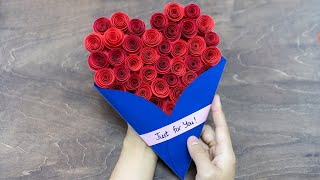 Valentine Cards Handmade | How to make Valentine Cards | DIY Rose Heart Card