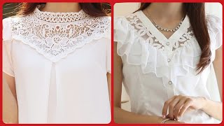 Beautiful Womens Evening Chiffon Blouse With Less Neck Designing Ideas