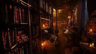 Old Library Sounds | Rain , Thunderstorm And Howling Wind Ambience | 3 Hours