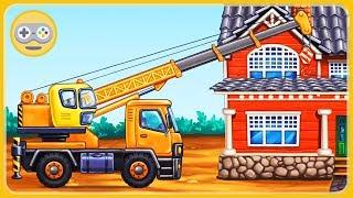 Мультик игра про машинки для детей - Строительная техника строит дом