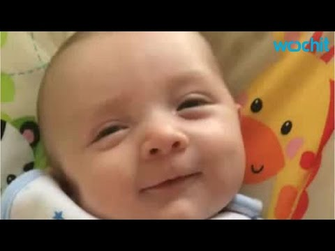 """Surprise! 7-week Old Baby Says """"Hello"""""""
