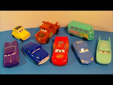 2006 DISNEY PIXAR CARS SET OF 8 McDONALD'S HAPPY MEAL MOVIE TOY'S VIDEO REVIEW