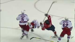 Marc Staal hit on Alex Ovechkin. NY Rangers vs Washington Capitals Game 3 5/2/12 NHL Hockey