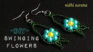 💕 Swinging Flowers Beaded Earrings    DIY Seed Bead Earrings Tutorial (0218)