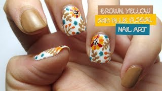 Brown, Yellow And Blue Floral Nail Art (Collab With LifeWorldWomen)