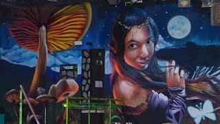 Making of graffiti mural de la discoteca Bora Bora