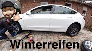 Tesla Model 3 SR+ Winterreifen Wechsel mit Überraschung - Winter Tyres