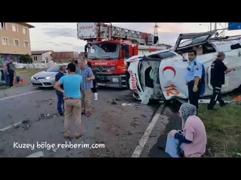 Ambulans kaza yaptı 1 ölü 3 yaralı Ferizli / Sakarya Karasu Yolu