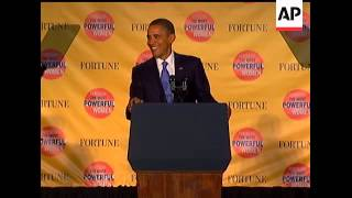 The presidential seal fell off President Barack Obama's podium and clattered to the stage as Obama d