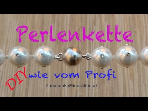 Perlenkette mit Magnetverschluss knoten - DIY - Kette fertig machen - Schmuck anfertigen - knüpfen