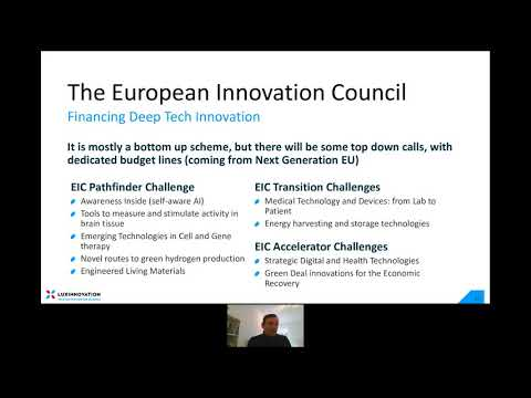 Financing deep-tech innovation (EIC Pathfinder, Transition, Accelerator)