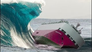 The world's largest wave and ship. scary moments you should see it !