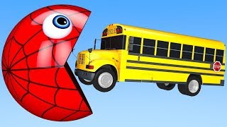 Learn Colors with PACMAN SchoolBus Surprise Toy Farm Street Vehicle for Kid Children