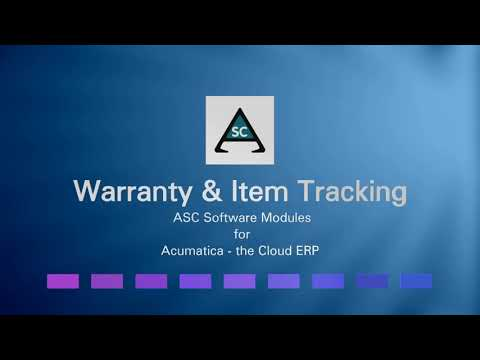 ASC Warranty*Item Tracking Module: Detailed