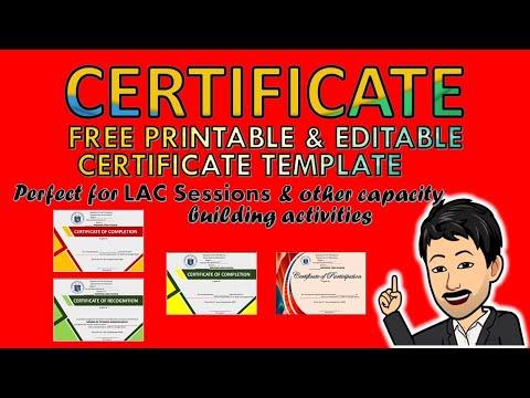 FREE CERTIFICATE TEMPLATE (Batch 1) | PRINTABLE & EDITABLE