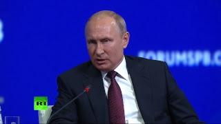 Путин, Макрон, Цишань и Абэ принимают участие в пленарном заседании ПМЭФ