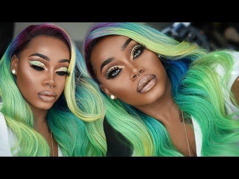 Hair n' Makeup | RAINBOW #COLORMELT | PROM Gold Glitter Cutcrease |  Kiss Colors | SuperNova | YWigs