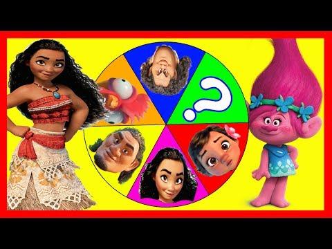 Disney Moana Fidget Spinner Game with Maui, Baby Moana and Paw Patrol, Poppy Trolls Toys