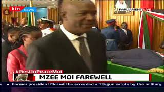 Government officials pay their last respect to mzee Daniel Toroitich Arap Moi at parliament building