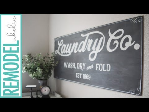 DIY Fixer Upper Inspired Farmhouse Laundry Sign Tutorial + Free Template