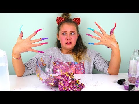 DON'T MAKE SLIME WITH SUPER LONG ACRYLIC NAILS CHALLENGE!!