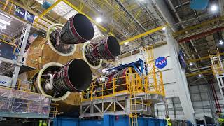 NASA Attaches All Four RS-25 Engines to Artemis I Rocket Stage by Marshall Space Flight Center