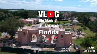 Fly drone over a Mansion in Tampa FL