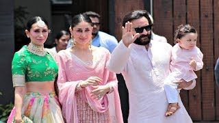 Kareena Kapoor With Taimur Ali Khan, Saif Ali Khan, Karishma Kapoor Arrive At Sonam Kapoor Wedding