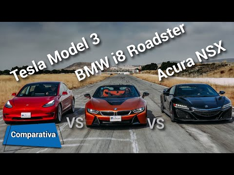 Acura NSX vs Tesla Model 3 vs BMW i8 Roadster