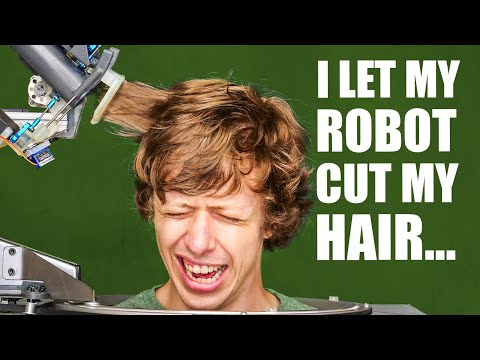 Guy made a robot to cut his hair with scissors
