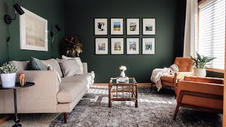 Tips For Decorating A Living Room • Dark, Bold Paint Color Makeover
