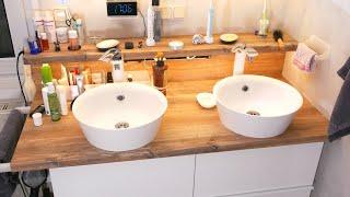Geräumiger Doppelwaschtisch mit Ikea Standard-Möbel