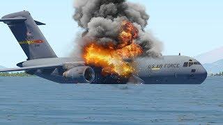 Máy Bay Quân Đội C-17 Hạ Cánh Khẩn Cấp Trên Đại Dương Khi Động Cơ Bốc Cháy | X-Plane 11
