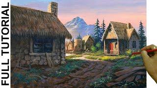 Acrylic Landscape Painting TUTORIAL / Old Village Houses / JMLisondra