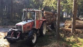 Holz laden mit Steyr 8090 und Farmi Forest 4067