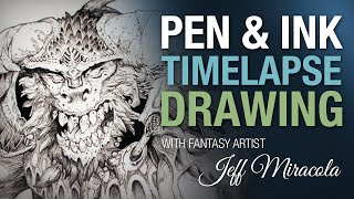 Time-lapse Ink drawing of monster on playmat by fantasy artist Jeff Miracola