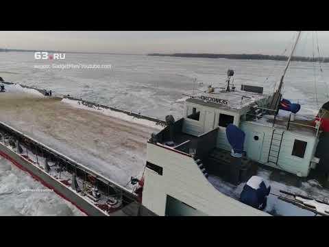 """В Самаре паром """"Окский35"""" вмёрз в Волгу"""