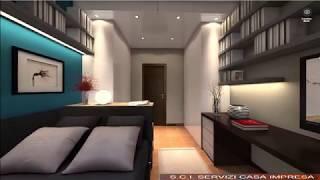 Camera singola letto 140 cm  - Rendering 360 gradi