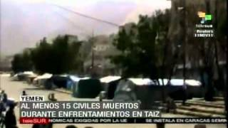 preview picture of video 'Enfrentamientos en Taiz, Yemen; al menos 15 muertos'