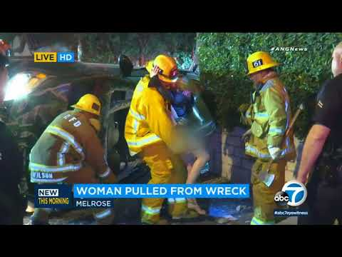 Suspected hit-and-run driver rescued from violent wreck on Melrose - ABC7