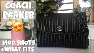 COACH PARKER RIVETS QUILTED LEATHER BAG UNBOXING | MOD SHOTS | WHAT FITS
