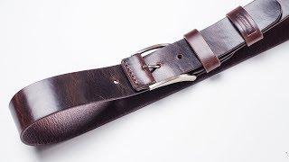 Ремень из кожи растительного дубления с эффектом Pull Up. Изготовление. Handmade Leather Belt