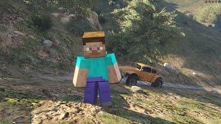 GTA 5 Minecraft Mod - Steve Minecraft xuất hiện trong GTA 5